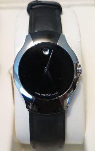 Movado black silver strapped