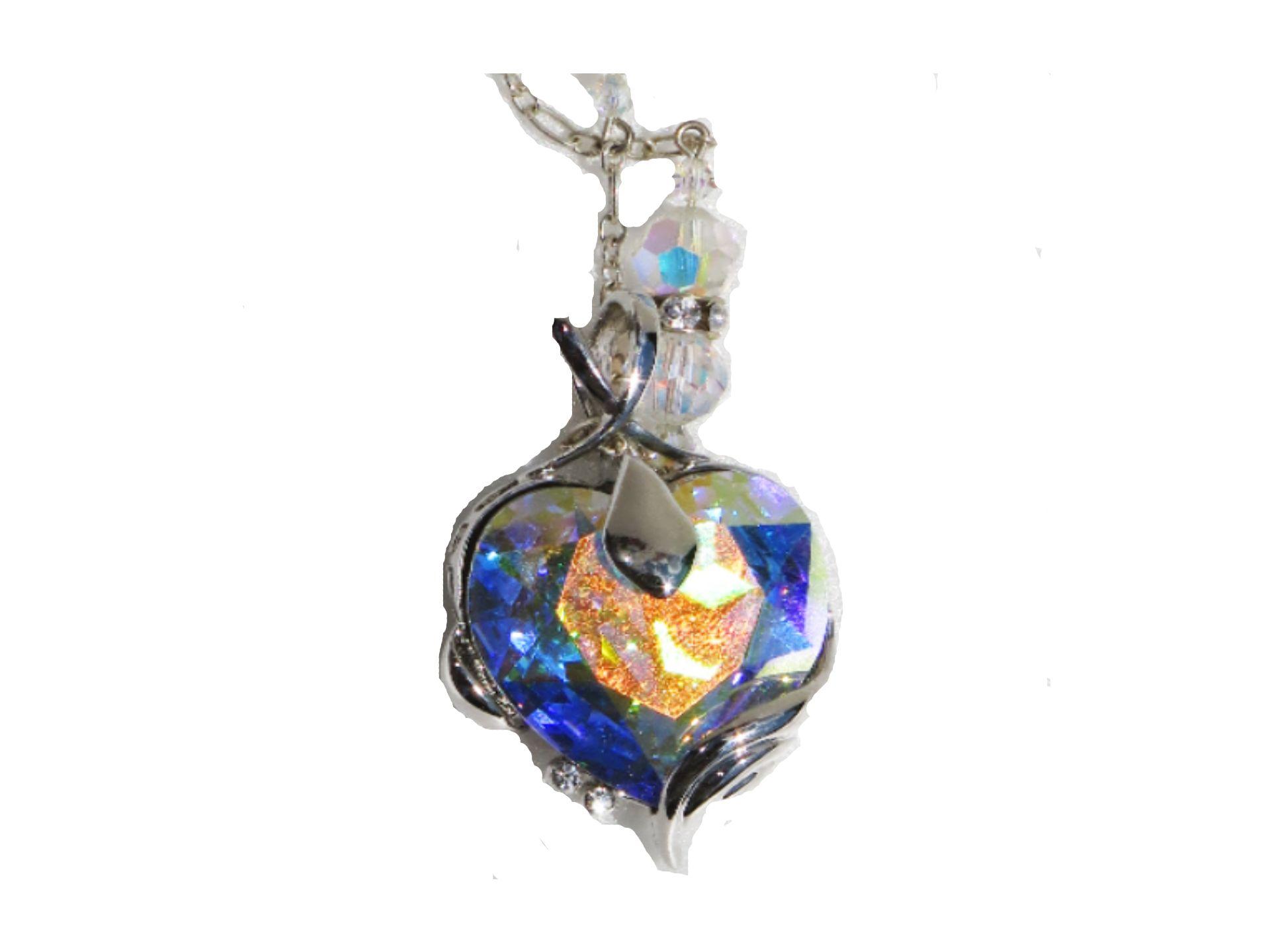 Austrian Crystal Aurora Borealis Heart Necklace